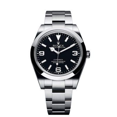 Rolex Explorer 214270 Reloj para hombre con esfera negra de acero de 39 mm